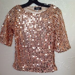 Tops - Ruiyige Women's Gold Sequence Blouse Size Medium